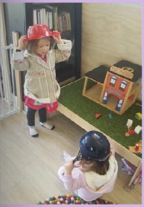 1.3b Children develop knowledgeable and confident self identities. This is evident when children explore different identities and points of view in dramatic play.